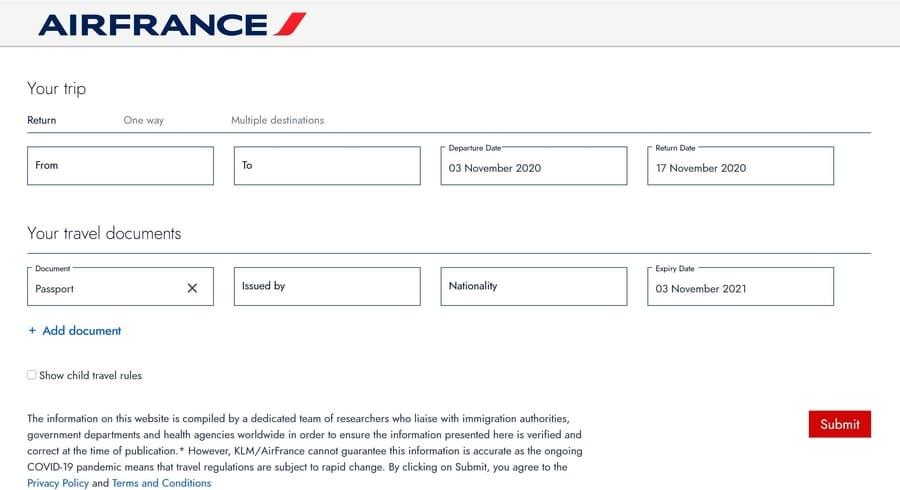 requisitos para viajar air france