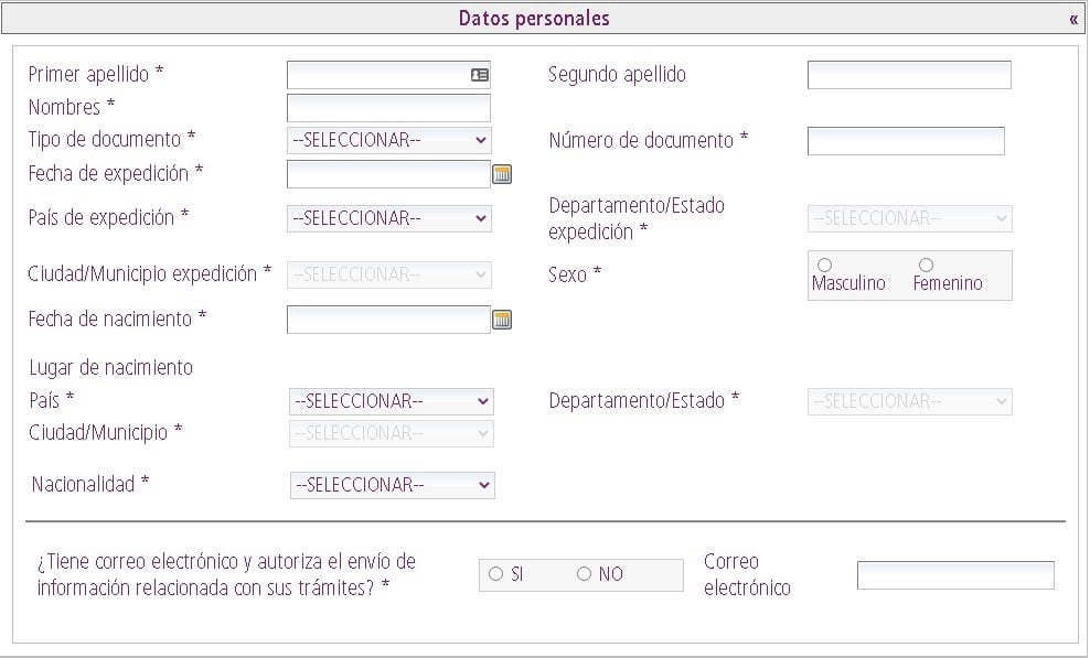 Datos personales para solicitud de certificado de movimientos migratorios y nacionalidad