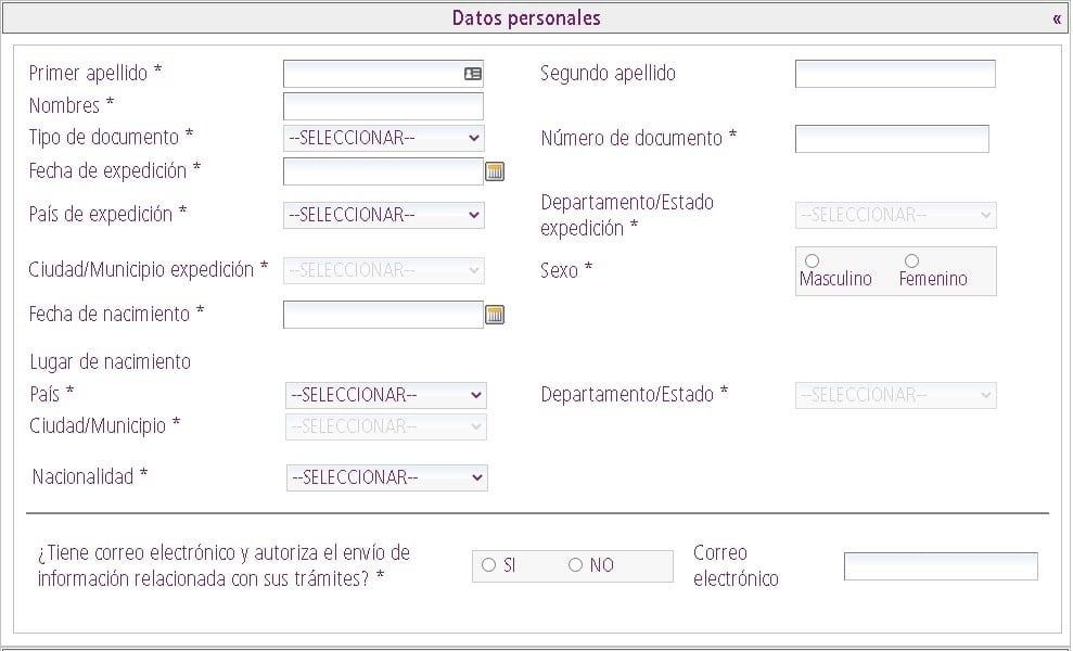 Datos personales para solicitud de certificado de movimientos migratorios