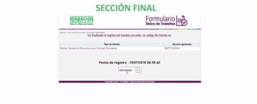Finalización del formulario de prórroga de permanencia en Colombia online