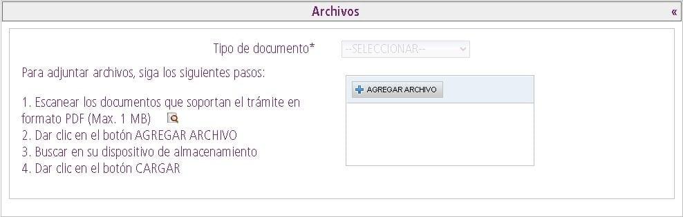 Sección de archivos para subir documento de identidad para CE