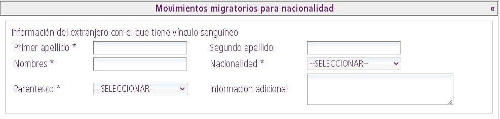 Sección de movimientos migratorios para nacionalidad