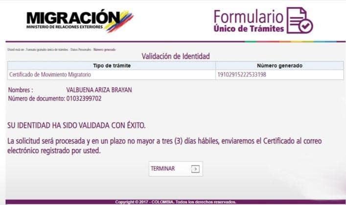 Validación de identidad para certificado de movimientos migratorios