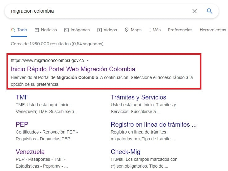 Ingresar al portal web de migración Colombia