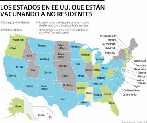 estados para vacunarse en estados unidos
